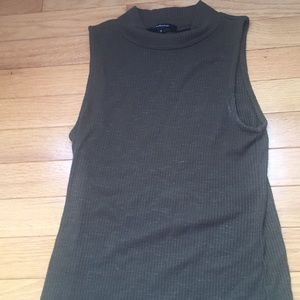 Olive green mock neck tank top